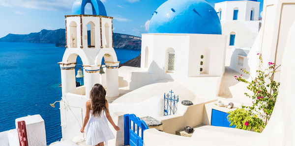 Exploring Santorini in Greece